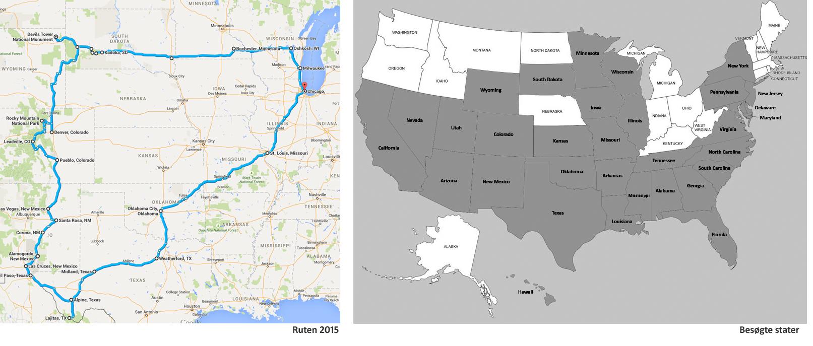 Rute 2015 & Besøgte Stater