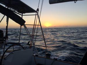 Sidste solnedgang på havet