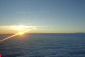 Solnedgang inden vi lander i Billund